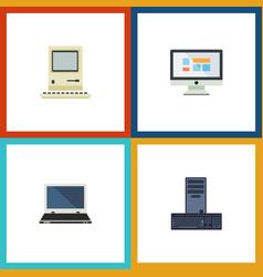 flat icon computer set of computing display vector image