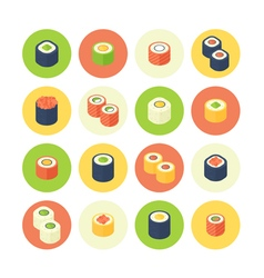 Flat isometric sushi icons set vector image