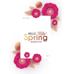 Flower paper cut elegant design template vector