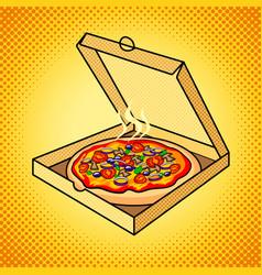 Fresh pizza in box pop art vector