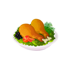 fried chicken drumstick with salad and vector image