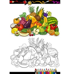 Fruits and vegetables for coloring book vector