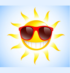 funny sun with sunglasses vector image