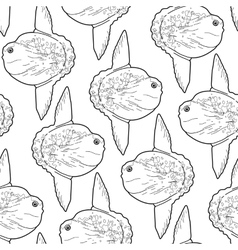 Graphic sunfish pattern vector image