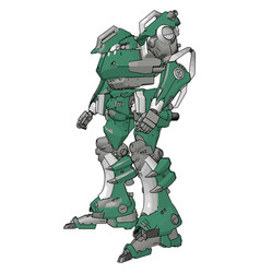 Green model robot on white background vector
