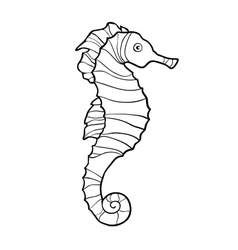 Hand drawn sketch of seahorse isolated on white vector image