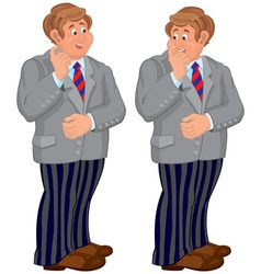 Happy cartoon man standing in striped pants vector image