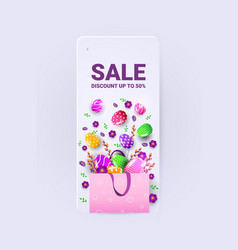 Happy easter holiday celebration sale banner flyer vector