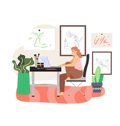 Happy girl freelance artist working on computer vector