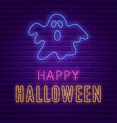 happy halloween bright signboard neon banner vector image