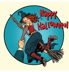 Happy Halloween witch on a broomstick follow me vector image