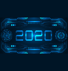 hud ui futuristic frame with text 2020 happy new vector image