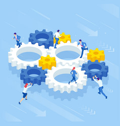 Isometric businessmen running in gear wheel vector