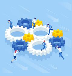 isometric businessmen running in gear wheel vector image