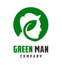leaf head mens logo design vector image