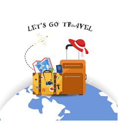 lets go travel baggage earth background im vector image