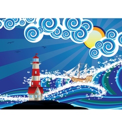 Lighthouse and boat in sea4 vector