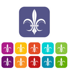 Lily heraldic emblem icons set vector
