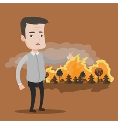 Man standing on background wildfire vector
