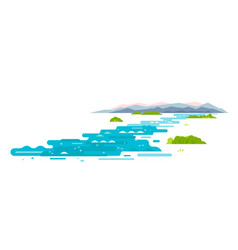 Meandering river flat style landscape vector