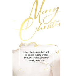 merry christmas luxury design in gold glitter vector image