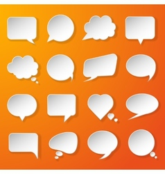 Modern paper speech bubbles set on orange vector image