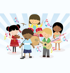 Music band of four little kids vector