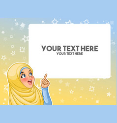 muslim woman excited pointing finger up vector image