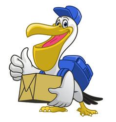 Pelican cartoon courier delivery service vector