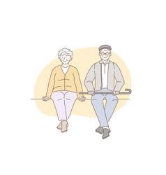pensioners grandparents older concept vector image