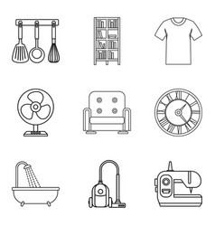 Place of stay icons set outline style vector