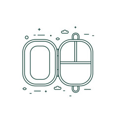 Plastic free lunch box icon in line art vector