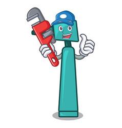 Plumber otoscope mascot cartoon style vector