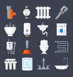 Plumbing and heating set vector