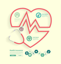 red stethoscope in shape heart with science vector image