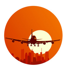 Round logo flying airplane at sunset vector