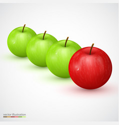 row of green apple with red main one vector image