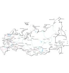 Russia Black White Map vector