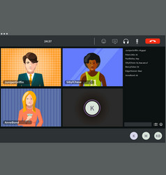screen video conference for 4 persons modern vector image
