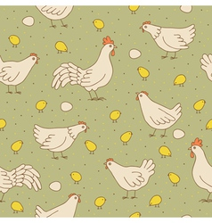 Seamless texture with cocks hens and chicks vector