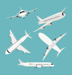 set aircraft airplane flight travel icons vector image