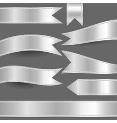 set of silver ribbons vector image