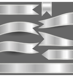 Set silver ribbons vector