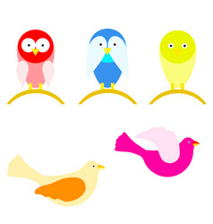 set with cartoon birds in multiple colors vector image