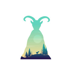 silhouette of mountain goat on the hill landscape vector image