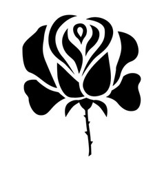 Silhouette stylized a rose flower vector