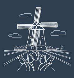 Silhouette traditional holland vector