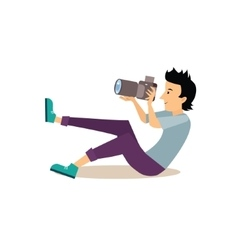 Sitting Photographer in Flat Style vector image