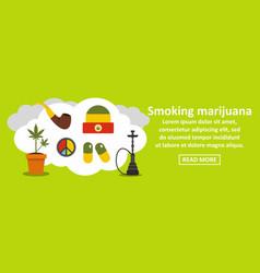 Smoking marijuana banner horizontal concept vector