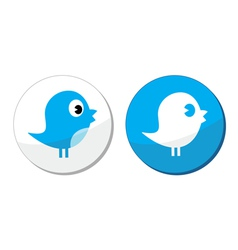 Social media blue bird labels vector image